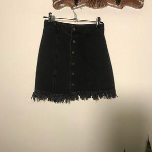 Forever 21 Black Frayed Denim Mini Skirt - Black